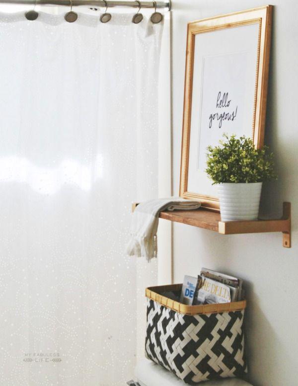 Baños Estilo Natural:Small Apartment Bathroom Storage Ideas