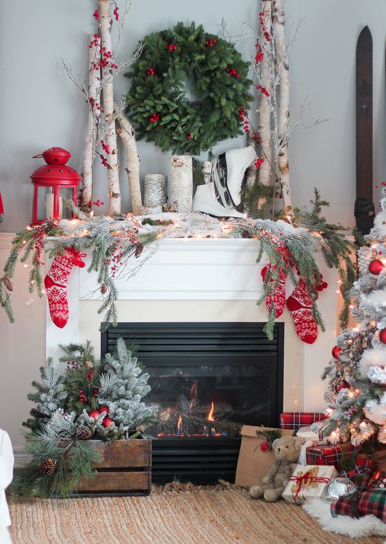 Decoración Navidad chimenea