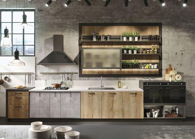 Cocina de madera industrial