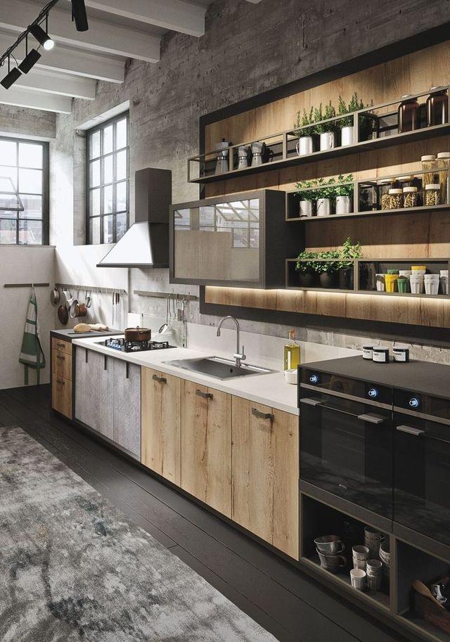 Cocina de madera y hierro