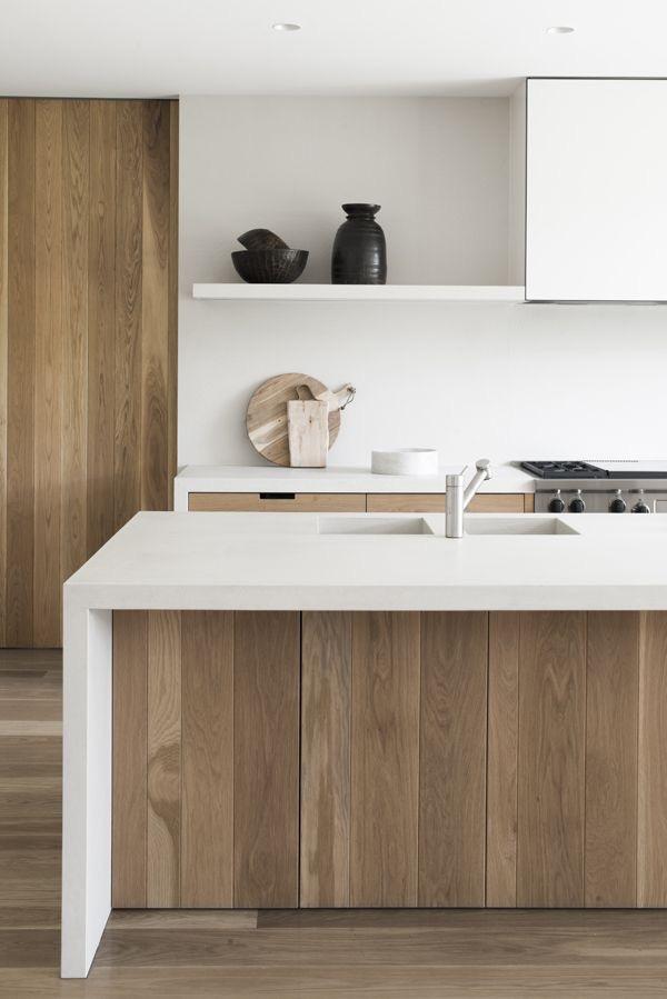 Cocina de madera lineas rectas